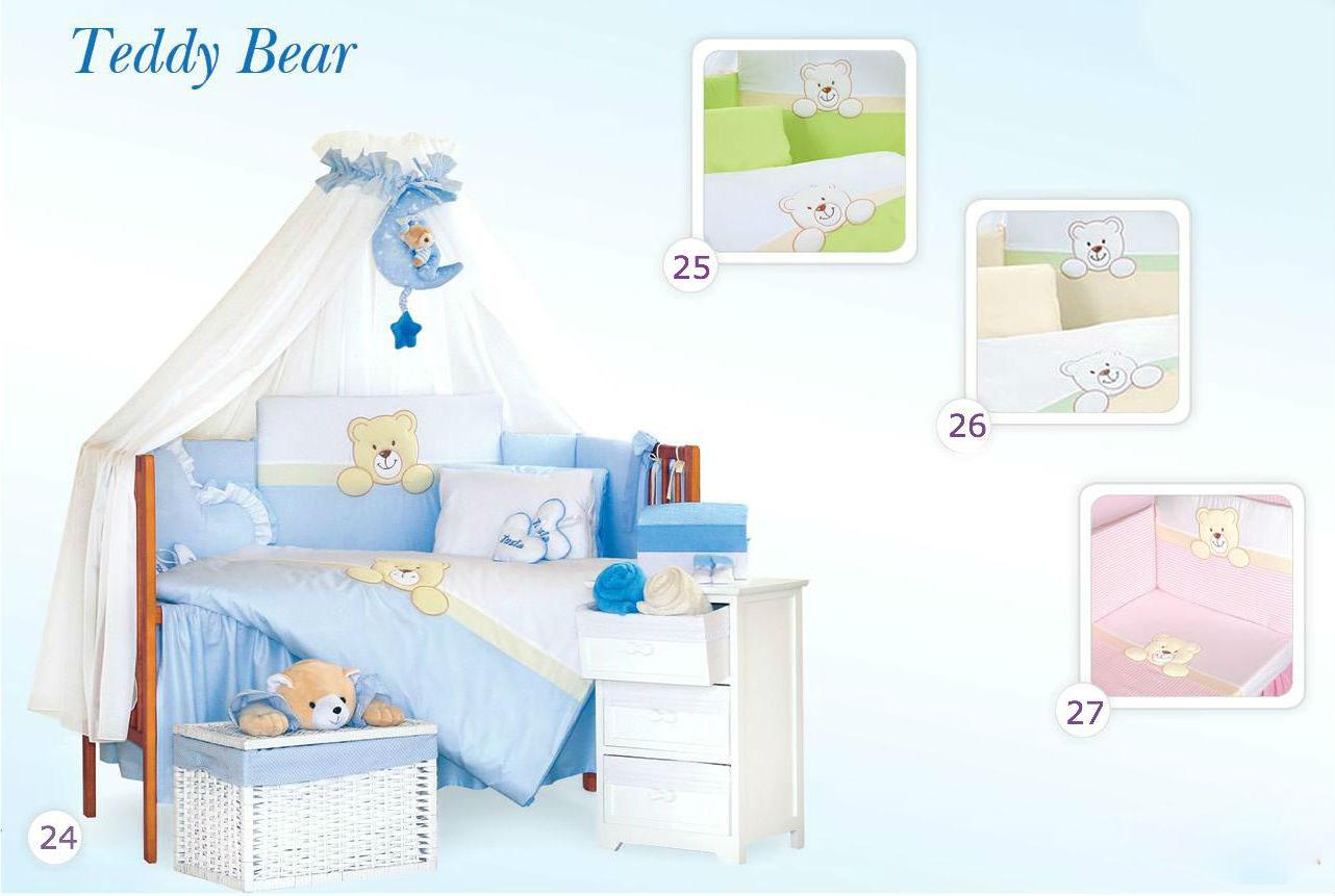 Комплект в кроватку Tuttolina Teddy Bear 24 (25 салатовый, 26 беж, 27 розовый) ) (7 предметов)