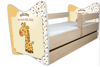 Кровать детская от 3-х лет Джуниор (Жирафик) с подкроватным ящиком и матрасом.