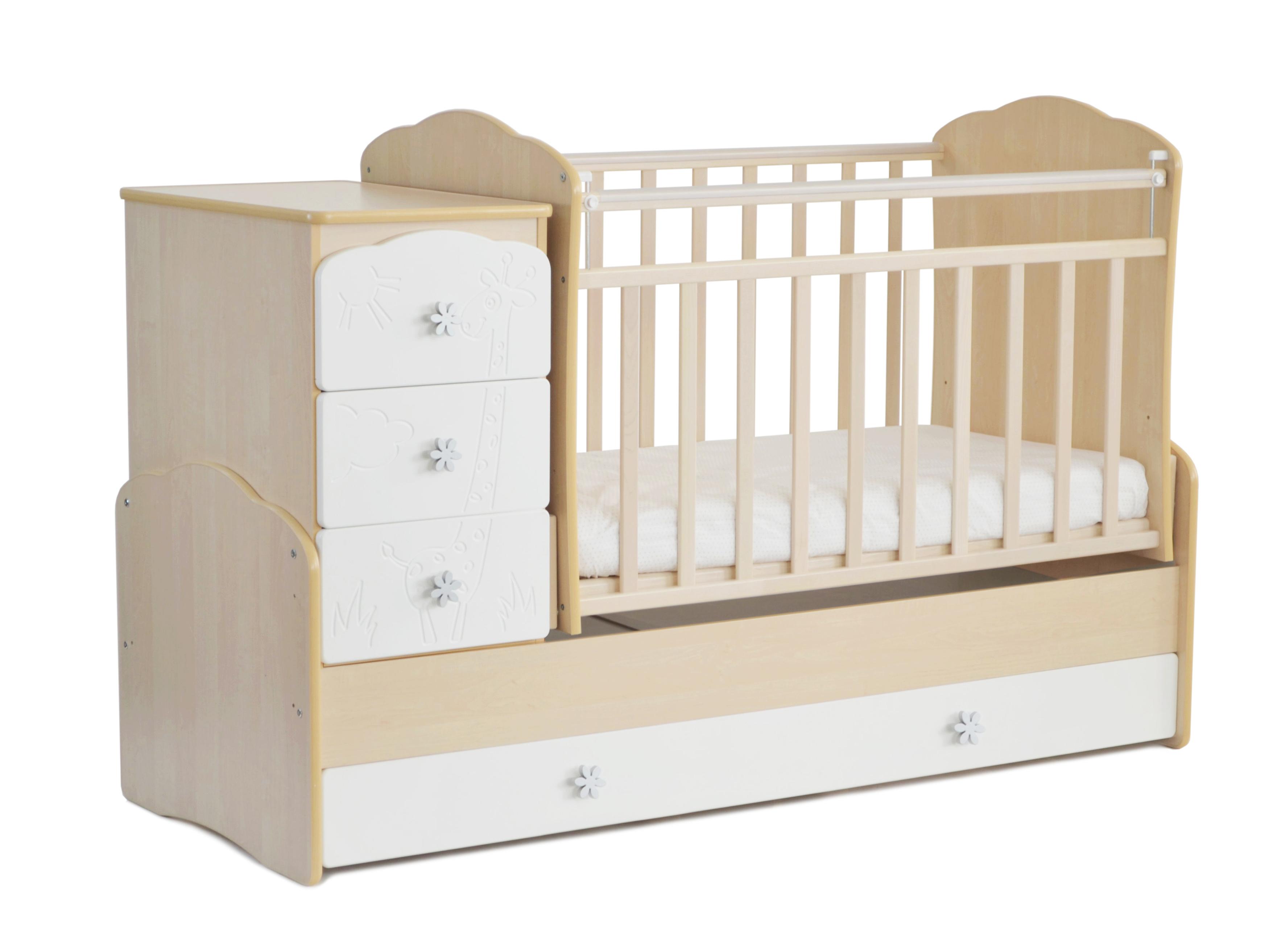 Детская кроватка-трансформер СКВ. Арт. 940039-1 цвет беж/белый гравировка жираф.