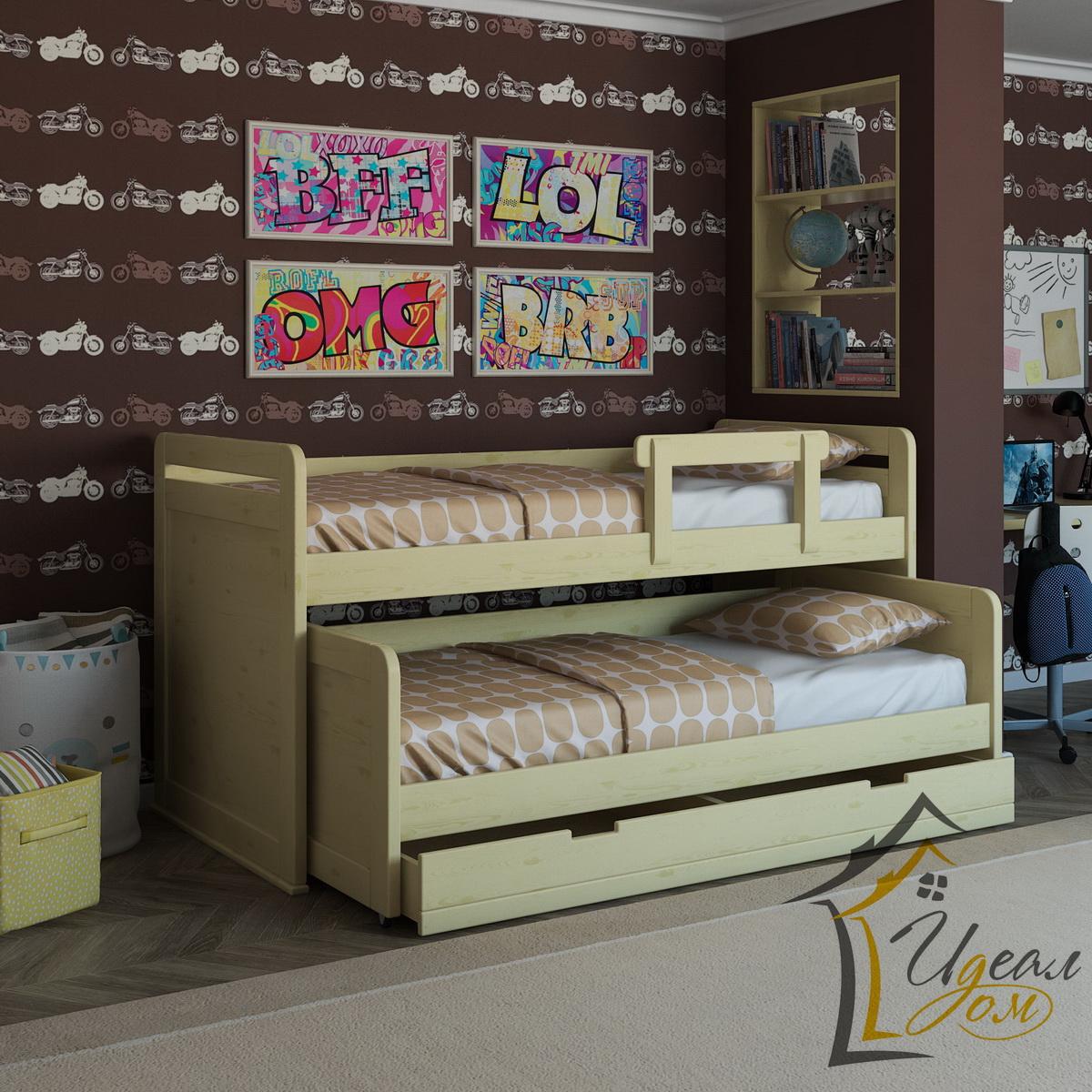 Выдвижная кровать Гармония-2  (из массива сосны).