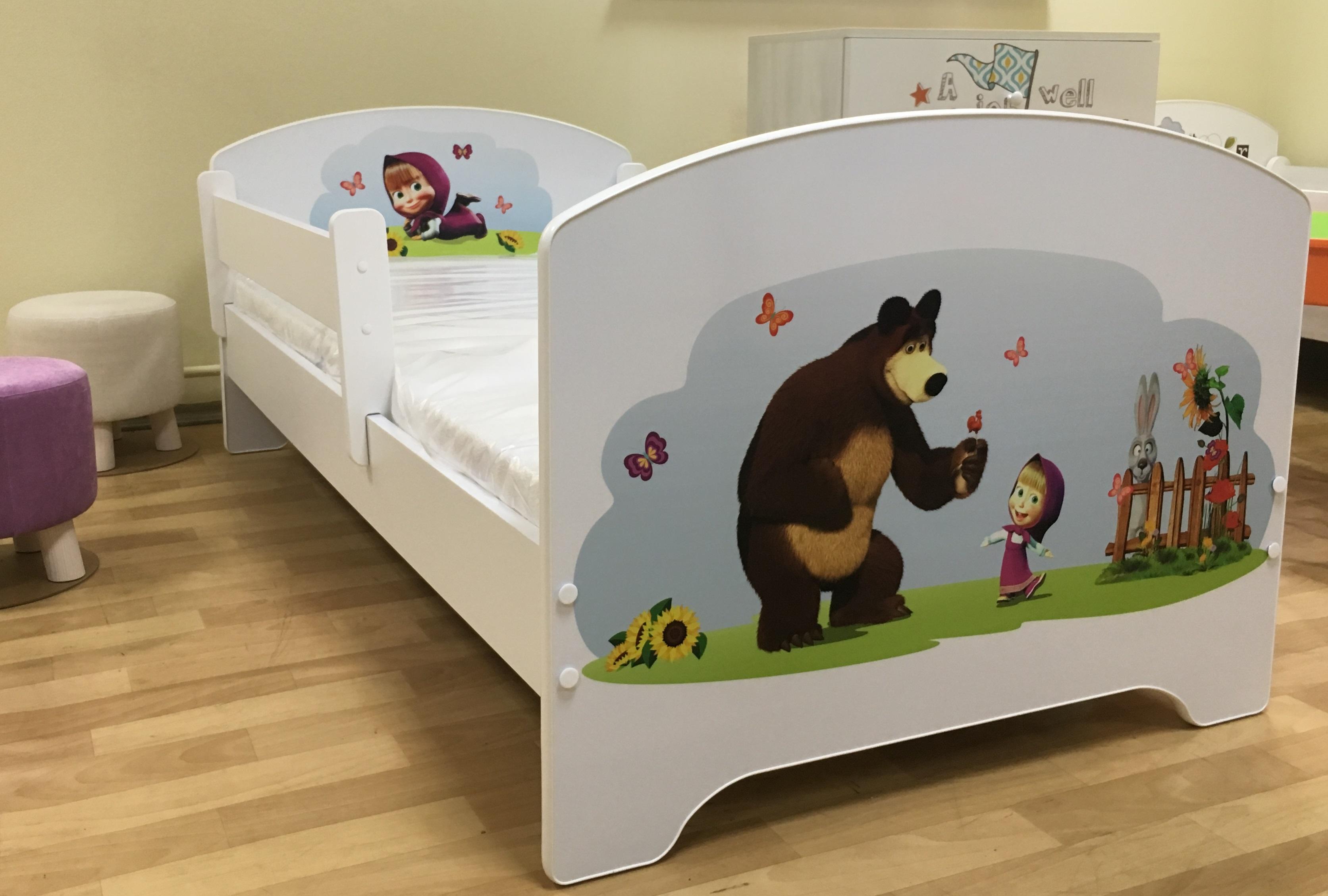 """Кровать детская от 3-х лет Oskar Х"""" Маша и медведь"""" с матрасом."""