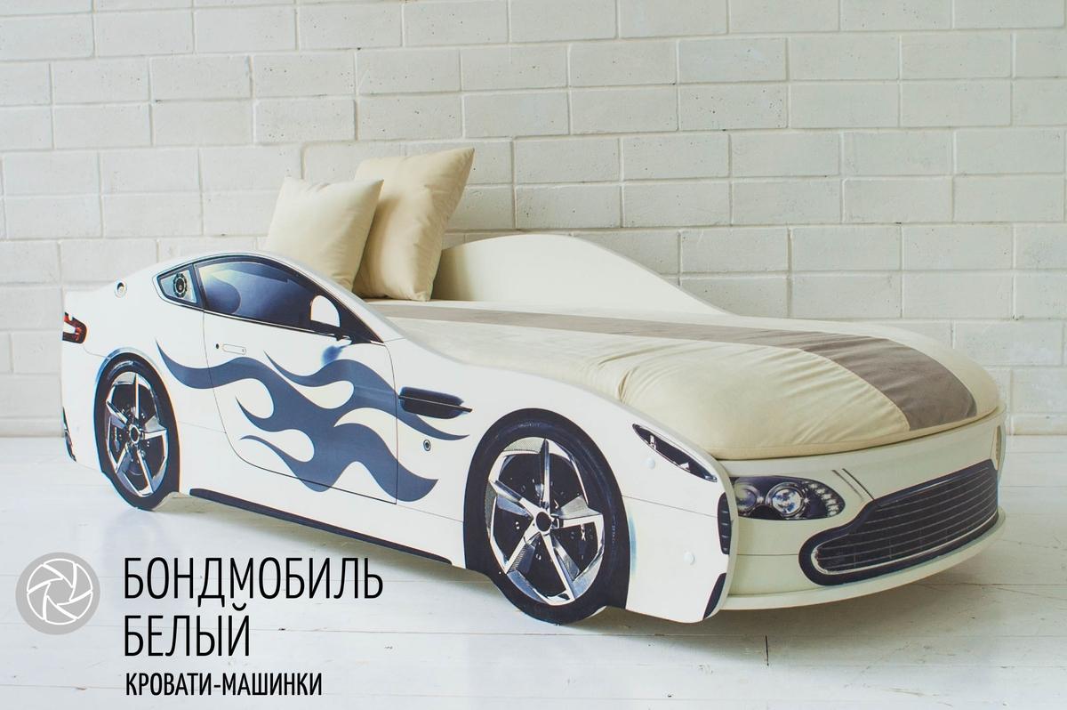 Кровать-машина Бондомобиль белый с матрасом и подъемным механизмом.
