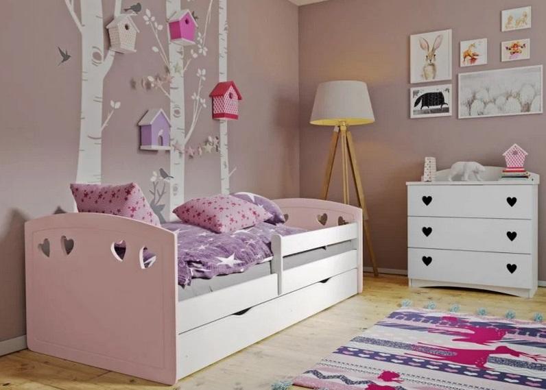 """Кровать детская с бортиками  """"Лаура-2 розовая"""" с матрасом и ящиком.."""