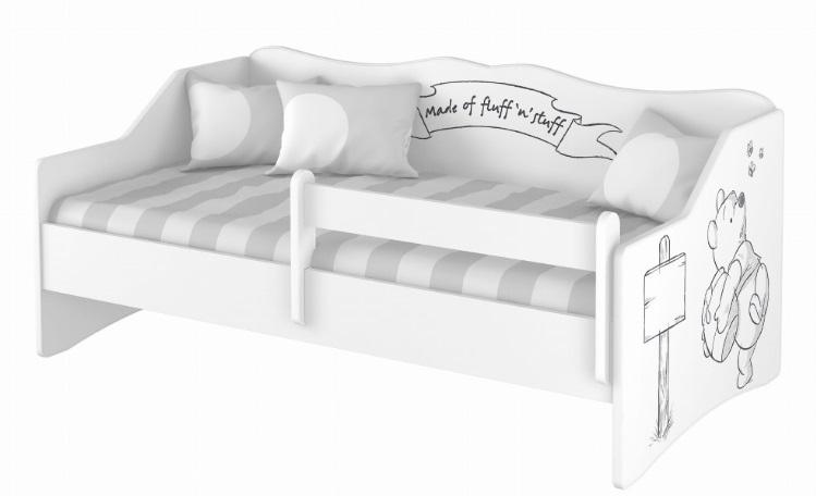 """Кровать-тахта детская от 3х лет """"Винни Пух"""" с матрасом, бортиком и подкроватным ящиком."""