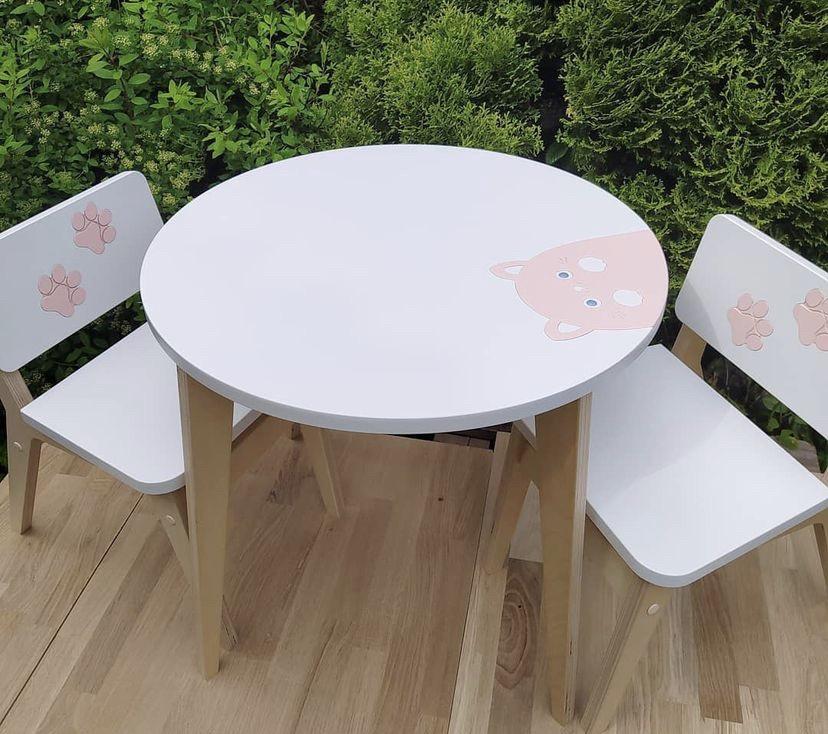 Детский столик и стульчик Классик апликация котик (комплект 1+2)
