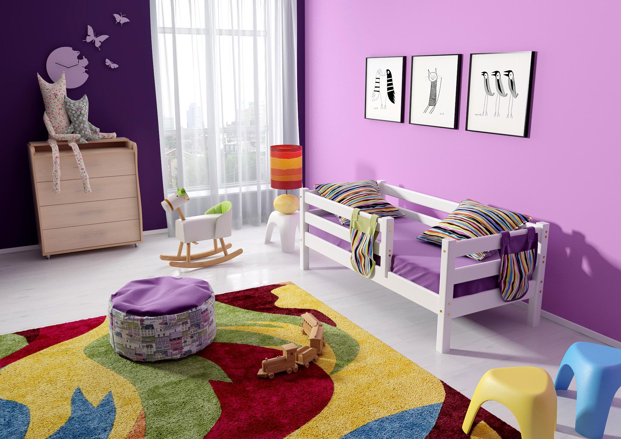 Кровать детская с бортиками Соня ( массив сосны).