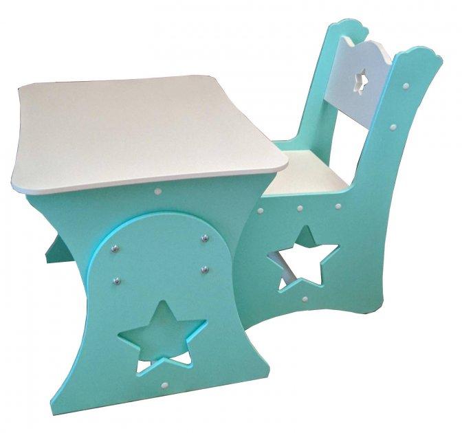Детский столик растущий и стул МДФ  Звезда (комплект 1+1)