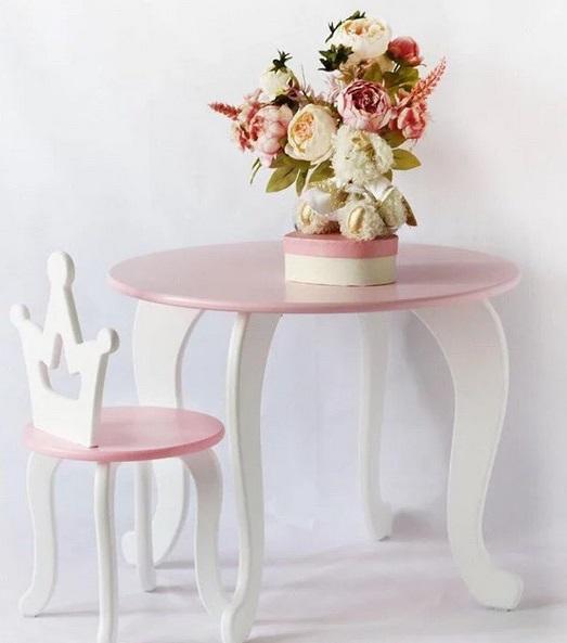 Детский столик и стульчик Королевна (комплект 1+1) розовый.