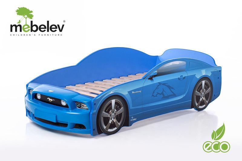 Детская кроватка-машинка Мустанг PLUS с подсветкой фар (синий).