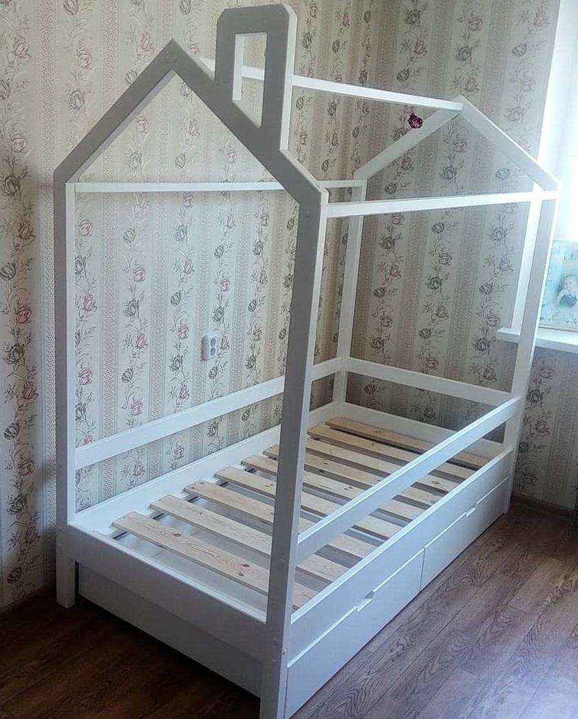 Кровать Домик модель арт.B-B/02 с ящиками и бортиком (сосна).