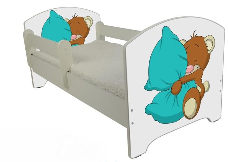 """Кровать детская от 3-х лет Oskar """" Мишка с подушкой"""" с матрасом."""