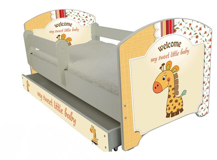 """Кровать детская  от года модель Оскар """"Милашка жираф"""" с ящиком и матрасом."""