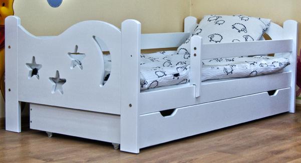 Кровать подростковая Камила с барьерами, матрасом и подкроватным ящиком цвет:белый.