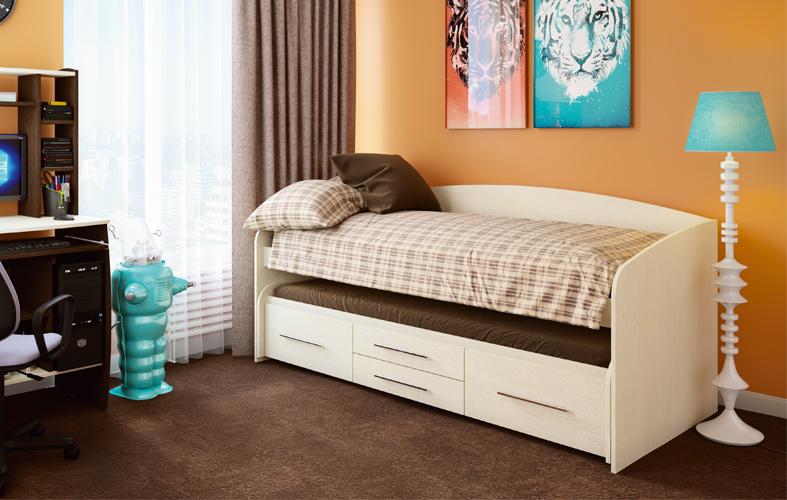 Кровать детская выдвижная Адель-5  (цвет дуб линдберг).