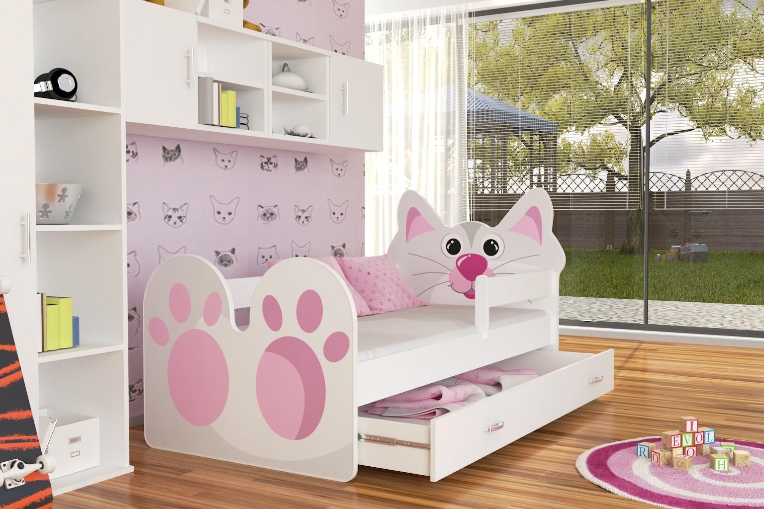 Кровать детская  с бортиками Котик (для девочки) с матрасом.