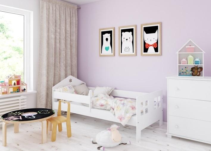 Кровать детская от 3х лет Pola с матрасом и бортиком.