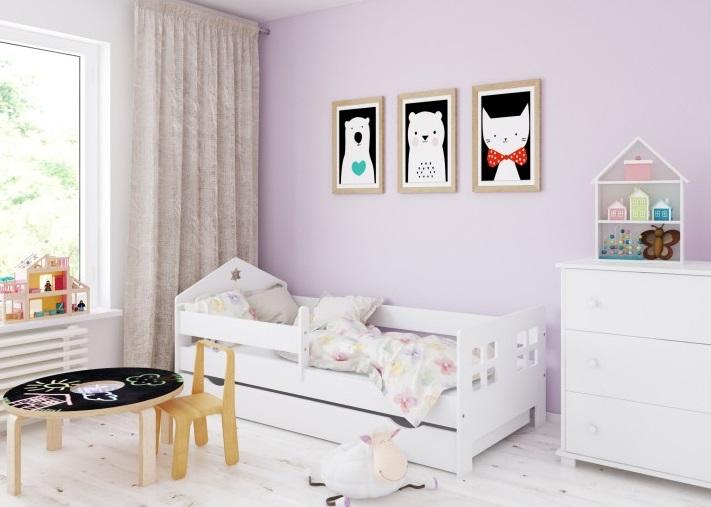 Кровать детская от 3х лет Pola с матрасом, ящиком выкатным и бортиком.