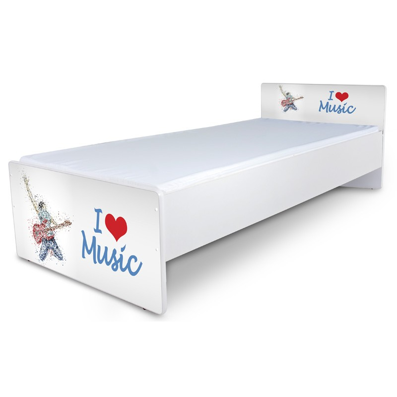 """Кровать подростковая Nobiko """"Я люблю музыку"""" с матрасом."""