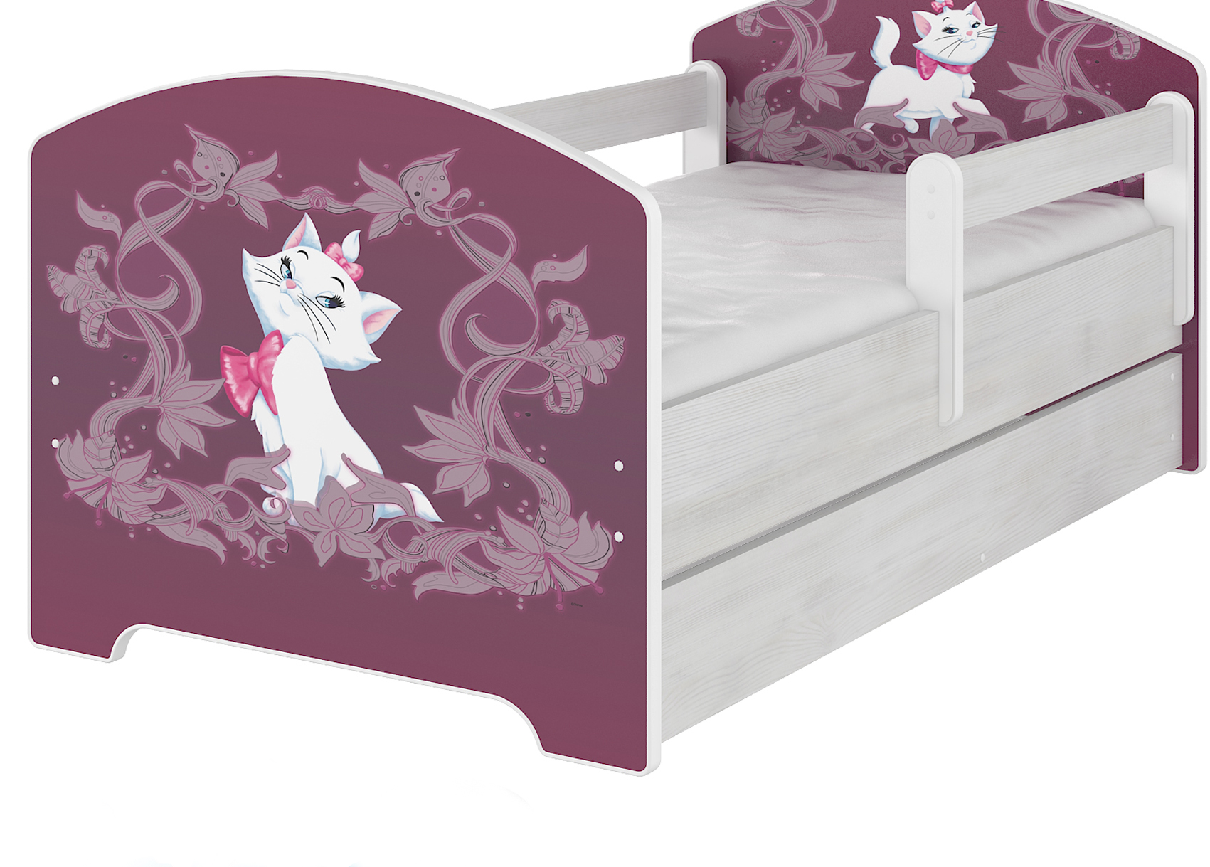 """Кровать от года  детская модель Оскар коллекция Дисней """"Мари"""" с ящиком и матрасом."""