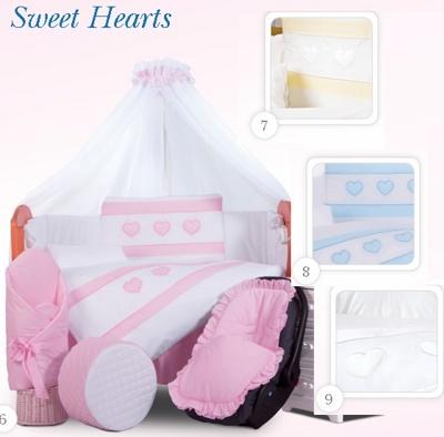 Комплект в кроватку Tuttolina Sweet Hearts 06 розовый (07 желтый,08 голубой,09 белый) ) (7 предметов)