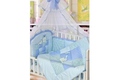 Комплект в кроватку Кошки-Мышки 7 предметов голубой 1702