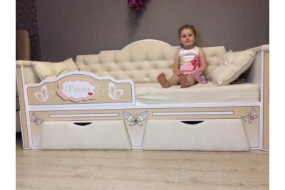Кровать детская от 3х лет серия Иллюзия цвет бежевый 160Х80