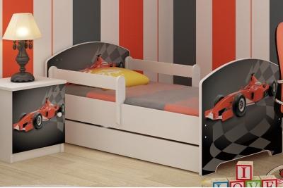 """Кровать подростковая с перилами Oskar """"Формула"""" c ящиком, бортиками и матрасом."""