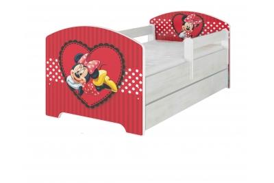 """Кровать детская с перилами Oskar X  Disney """"Сердце Минни""""  с матрасом."""