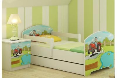 Кровать детская с перилами от 3-х лет Oskar Веселый трактор с матрасом.