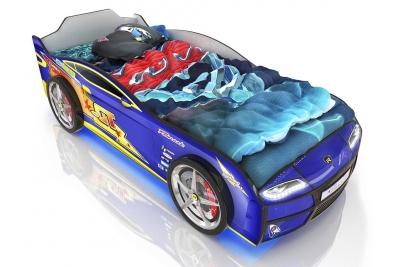 Кровать машина  Ferrari blue - молния.