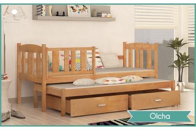 Кровать выдвижная 2-х уровневая детская Kubus 2 с бортиком.