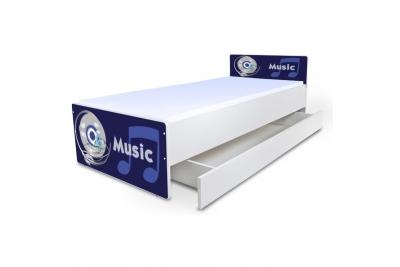 """Кровать подростковая """"Music"""" с матрасом и подкроватным ящиком."""