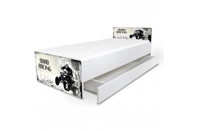 """Кровать подростковая Nobiko """"Quadro"""" с матрасом и подкроватным ящиком."""