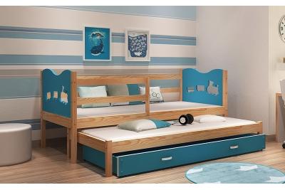 Выдвижная кровать для двоих детей MAX2 (голубой+сосна) с матрасами.