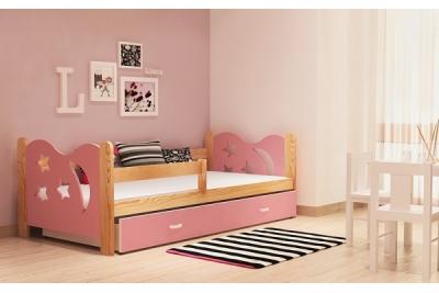 Кровать детская с перилами и шуфлядой от года Никола (розовый+сосна).