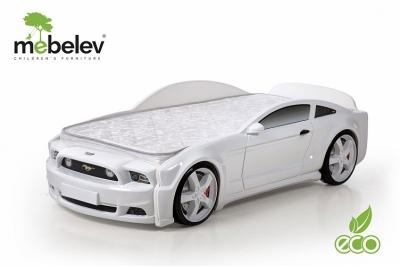 """Кровать-машина детская """"Мустанг"""" 3D белая"""