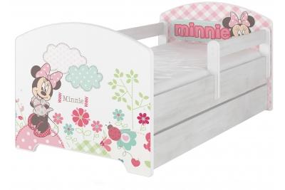 """Кровать детская с перилами Oskar X  Disney """"Минни"""" без шуфляды с матрасом."""