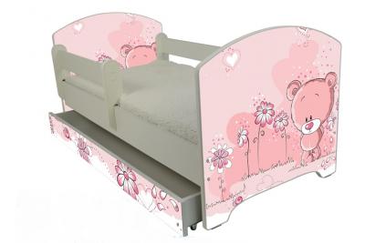 """Кровать детская от годамодель Оскар """"Розовый мишка"""" с матрасом и ящиком."""