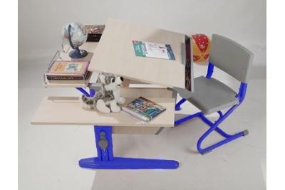 Парта трансформер ДЭМИ (СУТ.14-02) (синий,клен) стул деревянный.