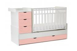 Детская кроватка-трансформер  СКВ..542031-304 (бабочки) цвет цвет белый/розовый риф.