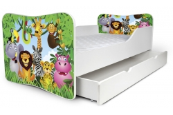 """Детская кровать Nobiko 140x70 с шуфлядкой """"Единорог для Барби"""" цвет голубой."""