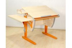 Парта трансформер Дэми (СУТ.14-02) (оранжевый,клен)  + стул деревянный.
