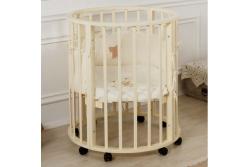 Детская  круглая кроватка трансформер INCANTO GIO 3 в 1 цвет слоновая кость.