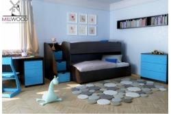 Детская (подростковая) выдвижная двухъярусная кровать Neo6.