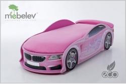 Детская кроватка-машинка БМВ-М розовая с подсветкой фар.