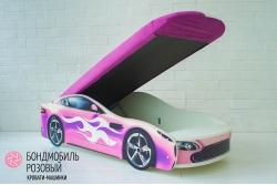 Кровать-машина Бондомобиль розовый с матрасом и подъемным механизмом.