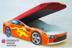 Кровать-машина Бондомобиль красный с матрасом и подъемным механизмом.