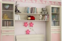 Детская комната Ксюша 9, цвет дуб беленый с розовыми вставками.