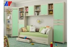 Детская комната Ксюша 5, цвет дуб беленый с зелеными вставками.