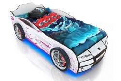 Кровать машина Romack Kiddy Ferrari white (белый-розовая лоза)